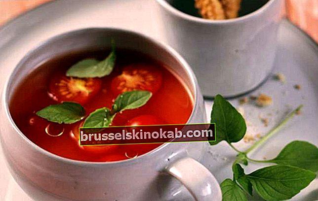 Tomat bouillon med basilikum og andre delikatesser